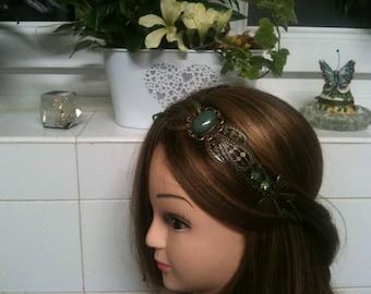 chain headband bronze ethnic with semi precious green Aventurine,cristal beads/serretete ethnic avec pierre fine Aventurine, perles cristals