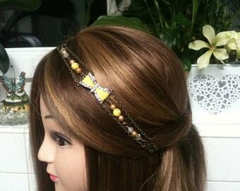 Node Shabby yellow headband bronze,Swarovski,cristal beads,rhinstone/serretete jaune Shabby noeud papillon,perles cristal Swarovski,strass