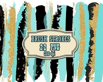 "40%SALE Brush Stroke Clipart: ""GLITTER BRUSH Stroke"" Turquoise clipart Paint strokes Teal brush strokes Confetti strokes Teal and Gold Brush"
