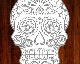 Five inch sugar skull vinyl decal, sugar skull decal, skull decal, floral skull decal, day of the dead skull decal, laptop decal, yeti decal