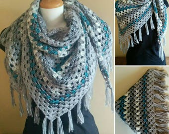 Crocheted Triangular Wrap, Scarf, Granny Scarf, Blue and Grey, Blue and Grey Tones