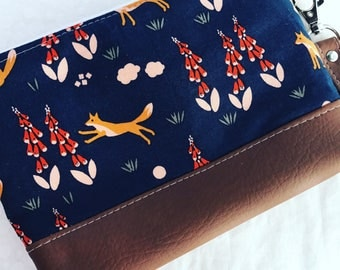 Romping Foxes Clutch with Faux Leather