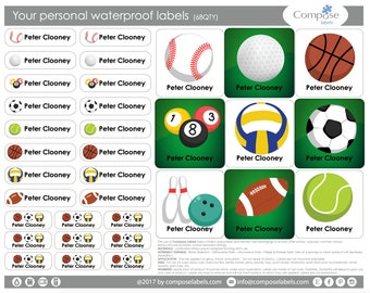 BALL SPORT - Your personal waterproof labels (68 Qty) Free Shipping