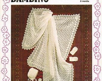 PDF Vintage Baby  Knitting Pattern Shawl Blanket Christening Layette Bonnet Bootees Mittens Robin 2550 BAMBINO Lacy Pram Set Pretty