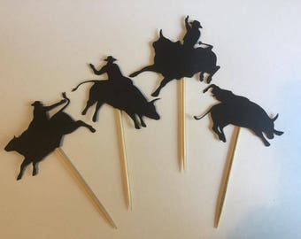 Rodeo party decor - cupcake topper - cowboy party decoration - rodeo - cowboy decor - western party - horse - cow boy -cowgirl