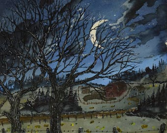 12-16 signed original watercolor and ink painting on arches paper .A farm on a country road during a dark quiet night