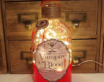 Vampire Blood Embrace The Dark Gift 500ml Apothecary LED Bottle Lamp Light by JayEngrave