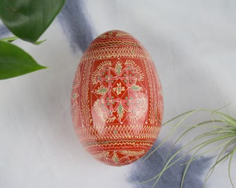 Vintage Pysanky  Wood Egg -  Traditional Ukrainian Art- Easter - Folk Art - Artisan - Bohemian Art- Boho Chic