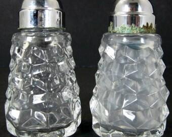Fostoria American Salt Pepper Shakers Metal Lids Caps Fire Polished