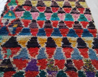 Vintage Boucherouite Rug Handmade From Recycle Textile.