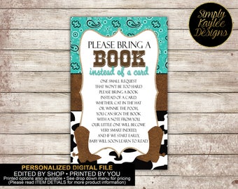 Cowboy Baby Shower Book Request Card
