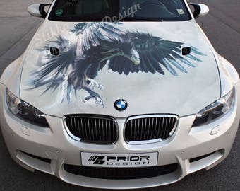Vinyl Car Hood Full Color Wrap Graphics Decal Eagle Predator Bird Nature Sticker