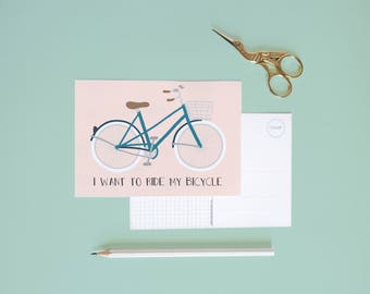 Postcard - i want to ride my bicycle  | Cheerfully illustrated |  retro bike