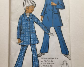 """UNOPENED Fabulous 70's french Italian sewing pattern - """"Patrons Elle va bien 0175"""" set of jacket and pant children sizes/tailles 4 6 8 9"""