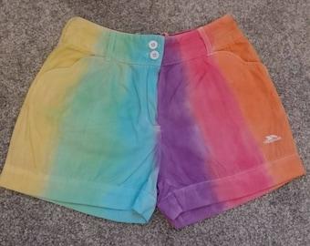Rainbow stripe tie dye shorts