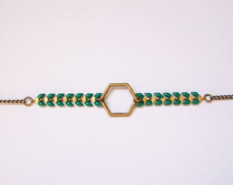 Bracelet chain Spike and emerald green Hexagon