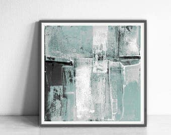 Printable abstract, contemporary art,  print from original painting, 12x12, pastel colours,  white, black , gray, mint, Wall Decor Poster