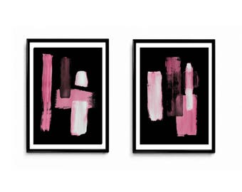 Digital set of 2, deep pink, black and magenta, pink, white, industrial abstract, contemporary art, diptych,fushia , modern abstract
