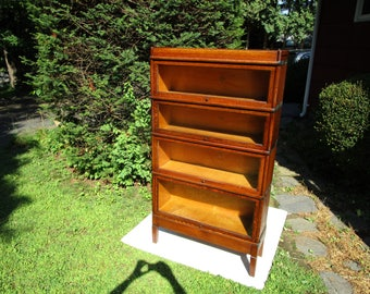 Antique c-1910 signed macey tiger quartered oak 4 stack barrister bookcase   retail ready