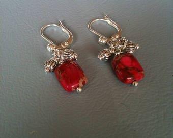 Small earrings spring Jasper fuschia