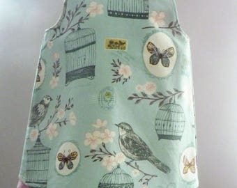 Girl's dress baby trapeze 6 blue printed months printed small birds and butterflies