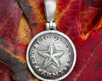 "Sterling Silver ""REPUBLIC of TEXAS / ARMY"" Button (TX5) Civil War Relic Pendant"