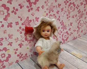 Only to order OOAK polimer clay miniature babyJulie 3.5' with cat, handmade,mini babies,doll,   mini  doll,polimer clay doll, dollhouse doll