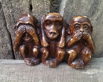 Vintage Gypsum Figurine Three Monkeys, Brown Monkey Figurine, Funny Monkey, Wall Decor, Gift Idea