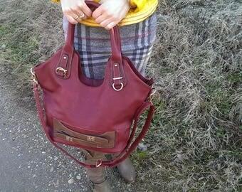Vintage Wine-colored Leather Bag, Lady Handbag, Shoulder Bag, Large Every day Bag, Gift for Her