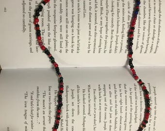 Red and black wrap around bracelet or necklace