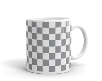 Grey Checkerboard Pattern Coffee Mug