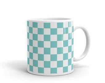 Aqua Checkerboard Pattern Coffee Mug
