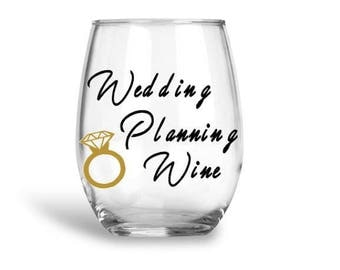 Customizable Wedding Planning Wine Glass. Stemless Wine Glass For Bride To Be