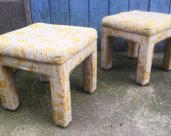 Vintage White and Yellow Benches