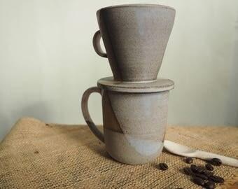 Handmade Ceramic Coffee Drip Cone and Cup Set, Ceramic Pour Over Cone, White Blue Gray Coffee Pour Over Cone