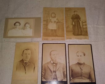 6 small victorian era portraits