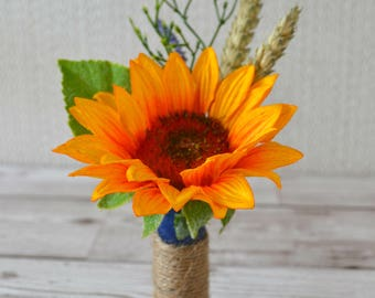 Gun Cartridge Sunflower buttonhole.Sunflower. wheat grass. lavender. foliage