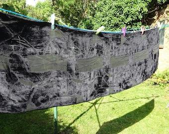 Fabulous black silk devore long shawl with silk backing, abstract design.  170 cm x 53 cm