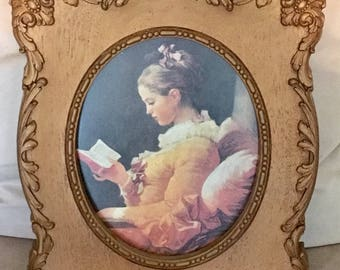 Vintage Homco Girl Reading Picture Homco Frame