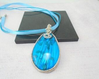 Murano Glass Pendant, Blue Murano necklace, Wire wrapped jewelry, Blue Pendant, Wire wrapped pendant, Murano Glass jewelry, Gift for her