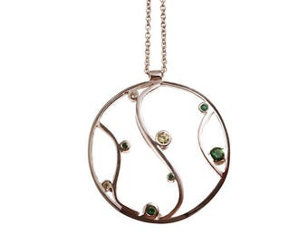 Silver green scroll necklace