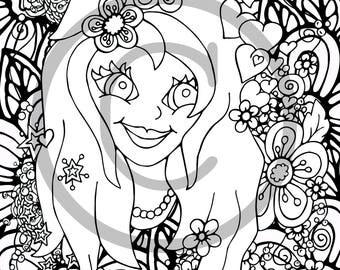 Flower girl coloring | Etsy