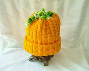 Child Pumpkin Crochet Hat, Fall Costume Hat, Boy's Winter Hat, Girl's Crochet Hat, Food Hat, Bright Orange Hat, Halloween Party Hat