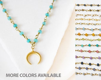Crescent Moon Necklace, Gold Crescent Moon Necklace, Crescent Moon necklace Gold, Gold Horn Necklace, Horn necklace, Double Horn Necklace