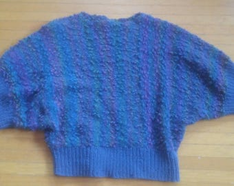 Vintage 80's HANDMADE periwinkle blue pullover sweater with short batwing sleeves size Medium