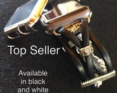 "Black Leather Apple Watch Band 38mm 42mm Womens iWatch strap ""Anna"" BLACK with SILVER or GOLD findings custom bands 38 42 w/optional Cover"