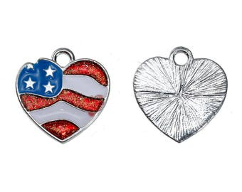 American Flag Heart Charm - Clip-On - Ready to Wear