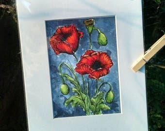 Matted Original Watercolor & Ink Painting of Red Poppies on Gray