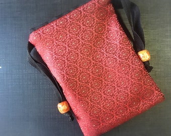 Handmade Thai Red Silk Tarot Pouch Bag Dice Pouch Jewelry Bag With Drawstring