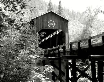 Photo, Fine Art Print, McKee Bridge, Covered Bridge, Black & White